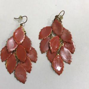 Red leafy earrings